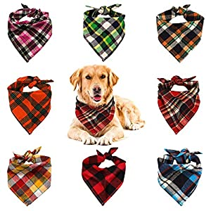 VIPITH 8 Pack Triangle Dog Bandana, Reversible Plaid Painting Bibs Scarf, Washable and Adjustable Kerchief Set for Dogs Cats Pets…