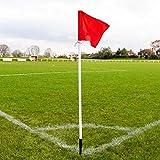 FORZA Banderines de Córner de Fútbol con Palos | Equipamiento para Campos de Fútbol – Base de Goma Opcional para Césped Artificial (Pack de 4 o 6) (Banderines de Córner, Pack de 4)