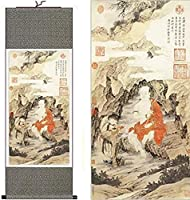 SDFDP 中国風のシルクの中国絵画が寄贈(H55「×W18財布)55128をぶら下げホームデコレーション書道スクロールを僧