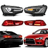 MOSTPLUS LED Headlights & Tail Lights Compatible for Mitsubishi Lancer EVO X 2008-2017 Audi A4 Style (Led H7 Bulb Included)