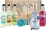 Hullabaloos Premium Cocktail Box with Gin. Cocktail Gift Set: Cocktail Kit Includes E18hteen Gin and 4 Premium Hullabaloos Mixers. Choose London Dry Gin or Passion Fruit Gin (Passion Fruit Gin)