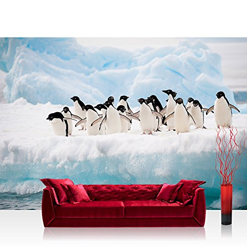 Vlies Fototapete 416x254cm PREMIUM PLUS Wand Foto Tapete Wand Bild Vliestapete - Tiere Tapete Pinguine Tier Eis Schnee Eisscholle Meer weiß - no. 2015