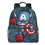Jupsero Bolsa de viaje Bolsas para portátil Cap-tain Ame-rica Backpack Smooth Zipper Travel Bag Laptop Bags ,Suitable for College, School, Casual Daypacks 14.5 x 12 x 5 Inch