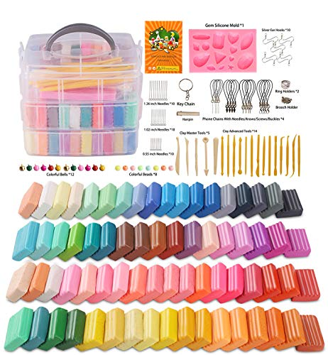 Polymer Clay, Farielyn-X 60 Colors 1 oz/Block Soft Oven Bake Modeling Clay Kit, 19 Tools and 10 Kinds of Accessories, Non-Stick, Non-Toxic, Ideal DIY Gift for Kids [ Total 4.7LB ]