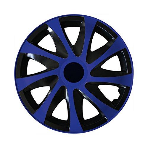 (Farbe & Größe wählbar) 15 Zoll Radkappen, Radzierblenden Draco Bicolor (Schwarz/Blau) passend für fast alle Fahrzeugtypen (universal)