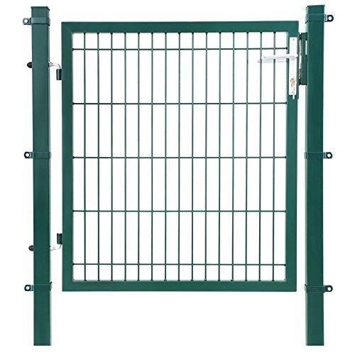 SONGMICS Gartentor aus verzinktem Stahl robust und langlebig mit Schloss und Schlüssel Tormaße: 106 x 100 cm Maschenmaße: 50 x 200 mm Grün GGD250L