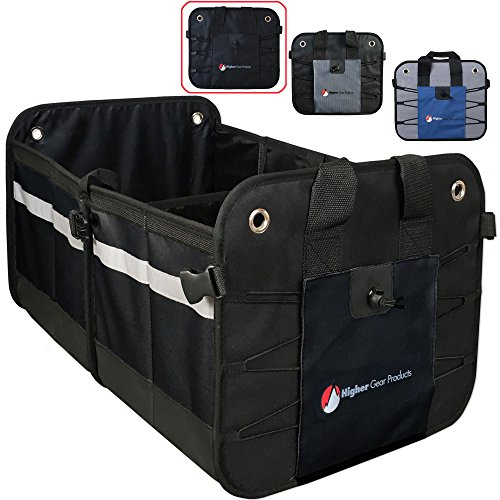 Higher Gear Car Trunk Organizer for SUV, Auto, Truck, Home - Collapsible Car Storage Organizer - 2 Interior Compartments, 3 Exterior Pockets, Rigid Folding Bottom, No Slip Feet (Blue)