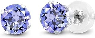 Gem Stone King 14K White Gold Tanzanite Women's Stud Earrings, 1.00 Cttw Gemstone Birthstone, Round 5MM