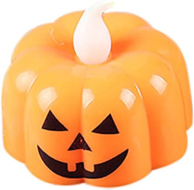 BONJIU Halloween Pumpkin Light Flickering LED Light Flameless Candle Special Party Home for Garden Patio Holiday Decorations, Decor Halloween Christmas Party