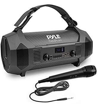 Wireless Portable Bluetooth Boombox Speaker - 600W Rechargeable Boom Box Speaker Portable Barrel Loud Stereo System with AUX Input USB 1/4  Mic in Fm Radio Dual 4  Subwoofer - Pyle PBMSPG122