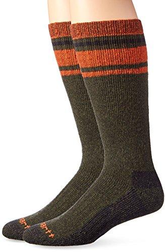 Carhartt Men's Heavy Duty Thermal Crew 2-Pair Socks, green, Shoe Size: 6-12