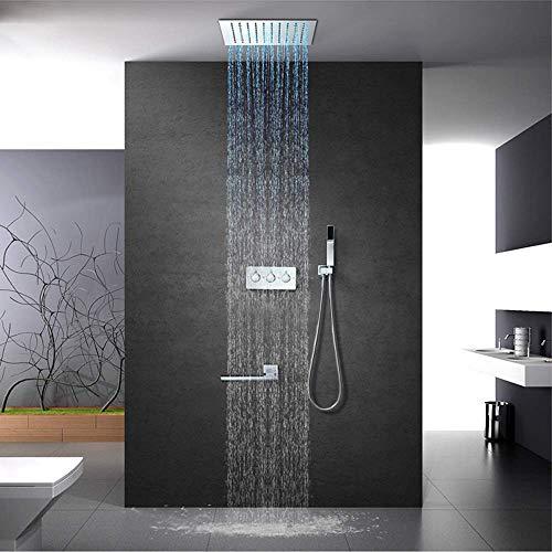 KAIBINY Hotel de cambio de color del pabellón Instalación juego de ducha empotrar en la pared Embedded llevado alejado de control caliente y frío ducha de mano sistema con el grifo 3 Función Hermoso p