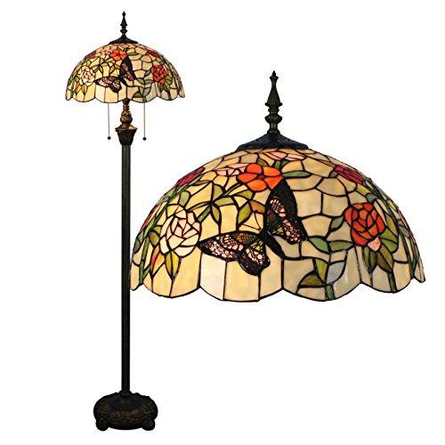 16-Zoll-romantische pastorale Art-warme Buntglas-Schmetterlinge über Blumen-Reihen-Stehlampe