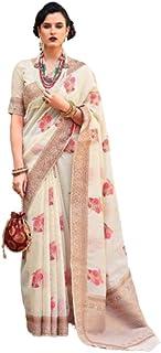 Ivory Party Formal Wear Special Soft Linen Saree Sari Blouse Muslim Women Indian Dress 9816B