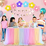 Suppromo Tulle Table Skirt for Birthday Party Baby Shower Gender Reveal Decor 6FT Rainbow Table Skirt with Colorful Balloons for Round or Rectangle Tables (L72in×H30in)