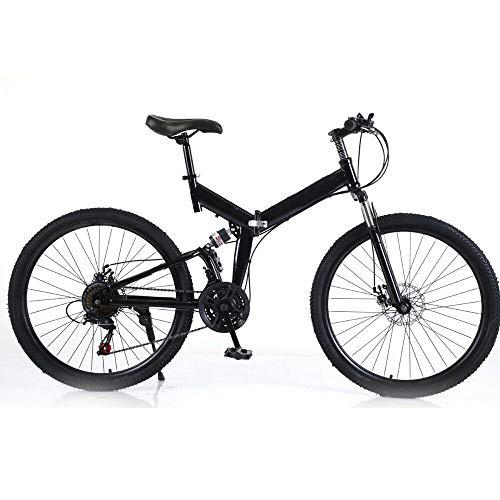 Kaibrite - Bicicletta pieghevole, 26 pollici, mountain bike, da corsa, per downhill, freni a V, colore nero