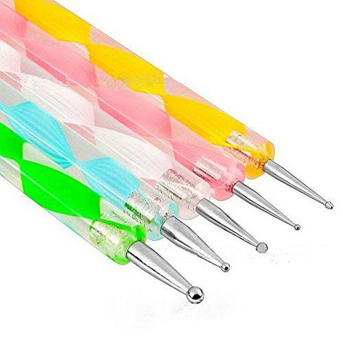 Goliton® 5 Stück Dotting Pen Punktierung Stift Marbleizing Werkzeug Nagellack Maniküre Dot Nail Art Set