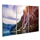 Bild Bilder auf Leinwand Geiranger Fjord Wasserfall Seven