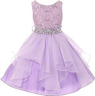 CrunchyCucumber Lace Bodice Asymmetric Ruffles Tulle Skirt Rhinestones Dress