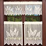 Ivory Lace Sheer Curtain Valance and Tier 3 Piece Kitchen Cafe Curtains Rooster Kitchen Curtain Panel Halloween Easter Tulle Door Curtain Rod Pocket Short Drapes Voile Window Treatment Set