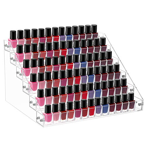 Benbilry Nail Polish Organizer 6 Layers Acrylic Nail Polish Holder 72 Bottles Essential Oil Stand Clear Sunglasses Rack Makeup Organizer(6 Tiers)