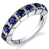 Peora Created Sapphire Ring Sterling Silver 7 Stone Band Size 5