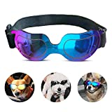 PEDOMUS Dog Sunglasses Small Dog Goggles Doggles Dog Glasses for Small Dogs UV Protection Windproof Waterproof Adjustable Band Blue