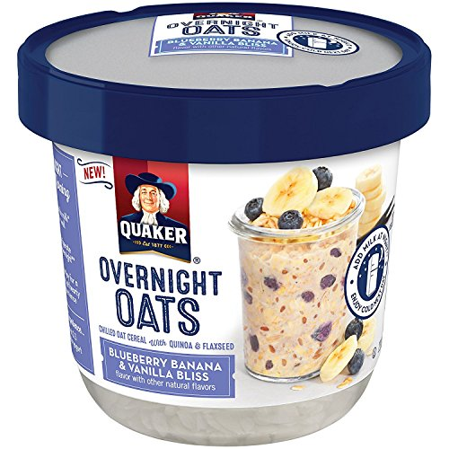 Quaker Overnight Oats, Blueberry Banana & Vanilla Bliss, Breakfast Cereal, Pack of 12