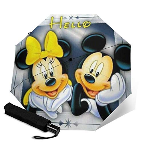 Mickey Mouse Minnie Automatisch Dreifach Faltbarer Regenschirm Unisex Bedruckter Regenschirm Manueller Regenschirm Tragbarer Regenschirm