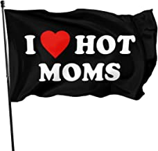 JXXO I Love Hot Moms Flag,Outdoor Garden decorates Grommzets Tough Durable Fade Resistant for All Weather Outdoor