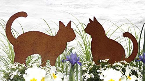 LB H&F 2er Set Katze Gartendeko Gartenfigur Metall Dekofigur Garten Deko (Katzen)