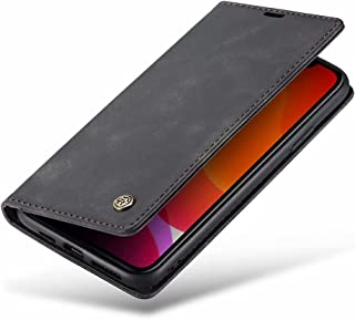 DoAo OppoReno65G Case Genuine Leather Wallet Case Card Holder Shockproof Flip Cover Magnetic Flip OppoReno65G cover-Black