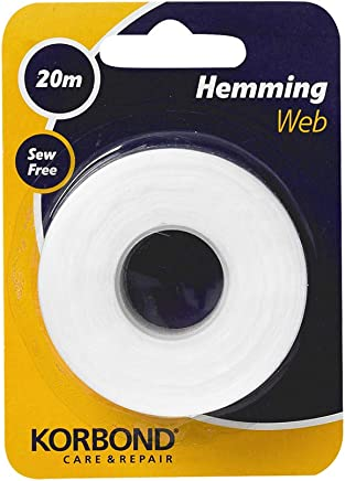 Korbond Hemming Web 20m x 2cm, Bonding and Craft Projects – NO Sewing Required– Ideal for Hems, Jeans, Work Trousers, Badges & School Clothes
