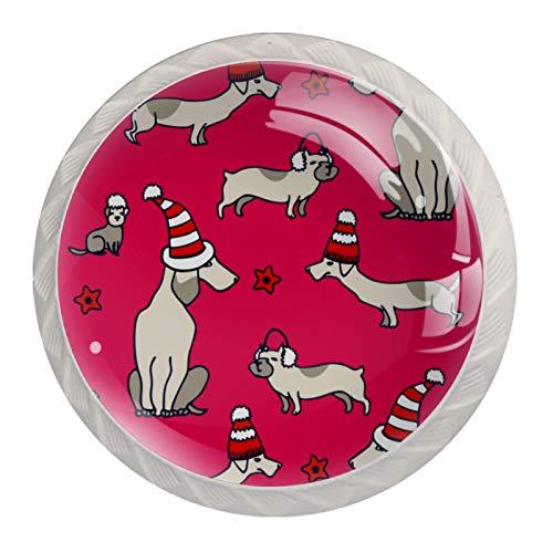 Tirador de manijas de cajón para el hogar, cocina, tocador, armario,Patrón transparente de vector con perros de Navidad sobre fondo rosa