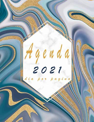 Agenda 2021 dia por pagina: Planificador anual dia por pagina A4 español -mármol  Calendario 2021   agenda diaria 2021 XXL, 365 dias, de enero a diciembre 2021