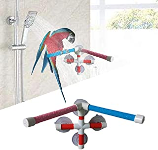 Keersi Double Suction Cup Shower Perch Window Wall Stand for Bird Parrot Parakeet Cockatiel Conure Macaw African Greys Amazon Cockatoo Lovebirds Budgie Finch Canary Bath Toy Accessories