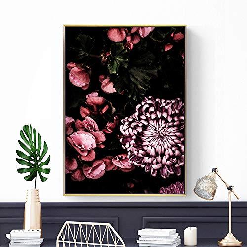 GJQFJBS Lila Pfingstrose Bilddruck auf Leinwand Wandblume Bild Wohnzimmer Pflanze Wohnkultur Kunst A3 50x70cm