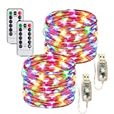 Juego de 2 luces LED de alambre de cobre de 10 m/100 ledes, con USB o funciona con pilas, con mando a distancia y temporizador, 8 modos de luces decorativas para Navidad, dormitorios y fiestas