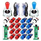 EG STARTS 2 Piezas de Arcade Joystick para Bricolaje codificador USB + 2X Ellipse Oval Joystick Handle 18x Botones Estilo Americano Arcade para PC, MAME, Raspberry Pi, Sistema Windows (Rojo & Azul)