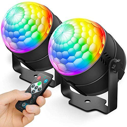 NEQUARE 2 Pack Party Lights Disco Ball Strobe Light Disco Lights 20 Colors Sound Activated Stage Light with Remote Control for Halloween, Kids, Festival Celebration Birthday Xmas Wedding Bar Club