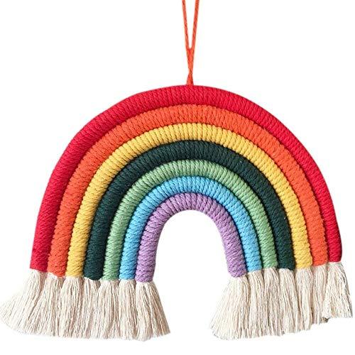 Arcoiris Colgante Pared,Tapices de Arco Iris Tejido a Mano Arco Iris Borla Dormitorio Tapiz Rainbow Colgante de Pared de Macramé Hecho de 7 Cuerdas Wall Hanging Decoración para el hogar niños Regalo