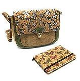Desconocido Pack » Bolso de Mano Pequeño para Mujer Realizado en Corcho y Libretita de Notas a Juego (Verde Mariposas)