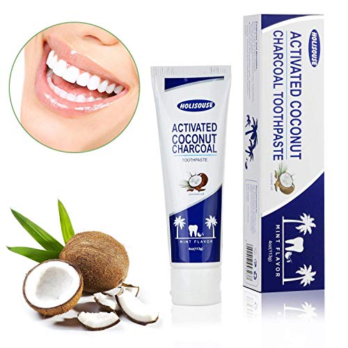 Holisouse Activated Charcoal Teeth Whitening Toothpaste -...