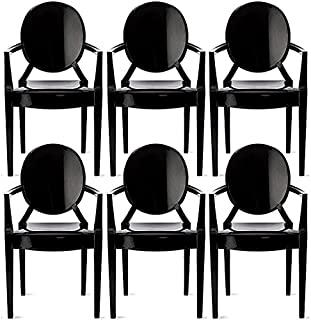 2xhome – Set of 6 Modern Ghost Chair Armchair with Arm Polycarbonate Plastic (Black)