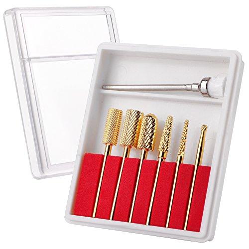 Makartt Carbide Nail Drill Bit Set 3/32 Gold Carbide Nail Drill Bit 7Pcs Remove Gel Polish Nail Gel Dip Powder Drill Bit Professional Bits Nail Art Tools Manicure Pedicure B-21