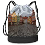 OKIJH Mochila Mochila de ocio Mochila con cordón Mochila multifuncional Bolsa de gimnasio Gym Woman Bag European Street Town Landscape Gym Drawstring Bags Backpack Sports String Bundle Backpack For Sp