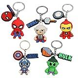 CBOSNF 5 pcs Llaveros de Silicona de Héroe Llaveros 3D Llavero de Goma Colgante Pop Figuras Colgante Llavero The Avengers Keychain