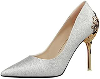 lcky Pointed-Toe high-Heeled Shoes Women's Shallow Stilettos Suede Singles Shoes(Silver 37/6 B(M) US Women)
