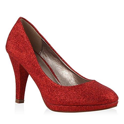 Klassische Damen Pumps Elegante High Heels Glitzer Stilettos Damen Velours Schuhe 111778 Rot 36 Flandell