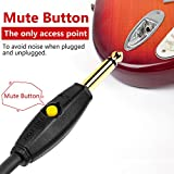 Kmise Low Noise Guitar Cable with Mute Buttons, 1/4 Straight to Right Angle Plugs, Guitar Musical Instrument Cord Cable for Electric Guitar, Bass, Amp, Keyboard